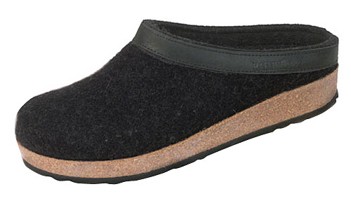f795bf81a04e Haflinger Grizzly Wool Felt Clogs Black with Leather Trim ...