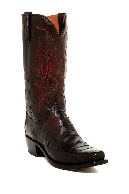 fee01902874 Men's Lucchese Black Cherry Caiman Belly Western Boot