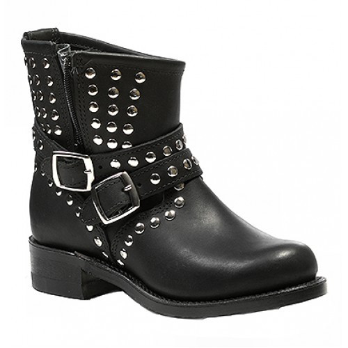 Women's Boulet Black Motorcycle Boot with Zipper *Sub-Standard*