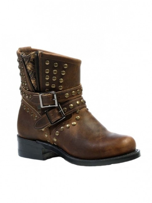 Women's Boulet Brown Motorcycle Boot with Zipper *Sub-Standard*
