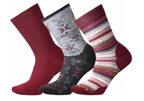 Smartwool Women's Trio Tibetan Red Heather Sock Gift Pack