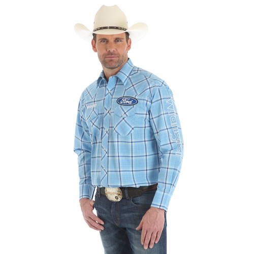 Men's Wrangler Blue Plaid Ford Logo Shirt
