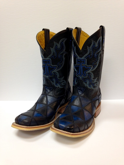 Men's Tin Haul Blue and Black Square Toe Boot *CLEARANCE* SIZE 9D