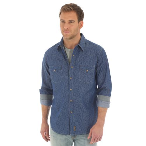 Men's Wrangler Retro Blue Printed Long Sleeve