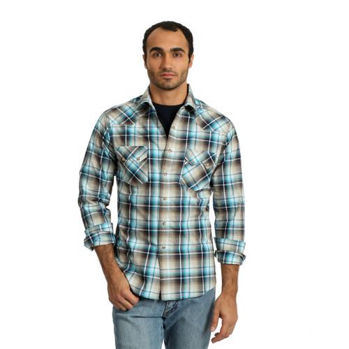 Men's Wrangler Teal and Brown Plaid Long Sleeve Shirt
