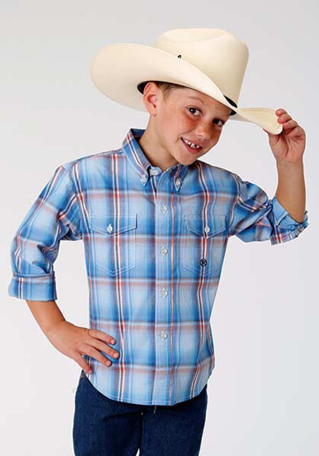 b79db3676 Boy's Roper Long Sleeve Sky Plaid Shirt - Herbert's Boots and ...