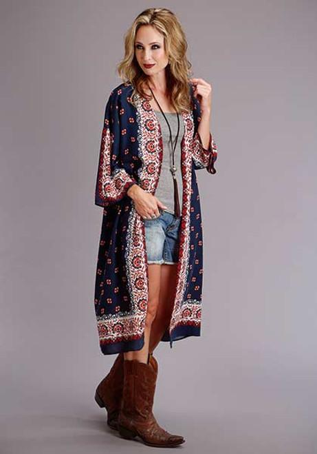 Stetson Women's Long Sleeve Printed Rayon Cardigan