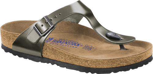 Birkenstock Gizeh Metallic Anthracite Leather Soft Footbed Sandal