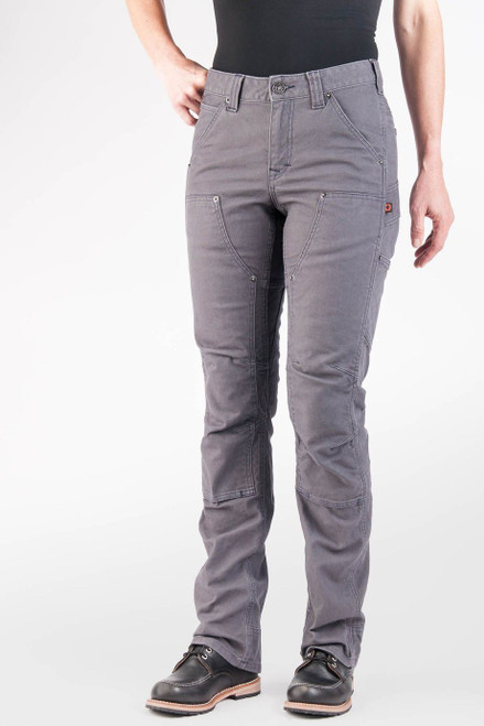 Women's Dovetail Workwear Britt Utility Grey Stretch Canvas Work Pant