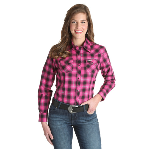 Women's Wrangler Tough Enough To Wear Pink Long Sleeve Plaid Shirt
