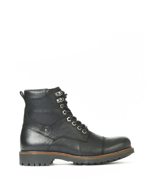 Men's  Bulle Face Black Leather Winter Boot with Zipper