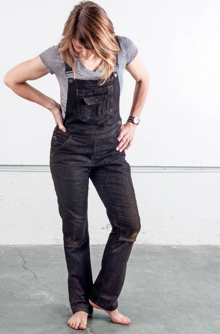 Women's Dovetail Workwear Freshley Overall Black Denim