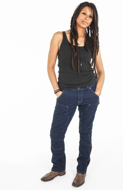 Women's Dovetail Workwear Britt Utility Indigo Denim Stretch Work Pant