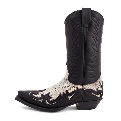 Sendra Raven Sprinter Black with Natural Python Western Boots