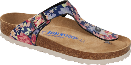 Birkenstock Gizeh Supernatural Flowers Navy Soft Footbed Sandal