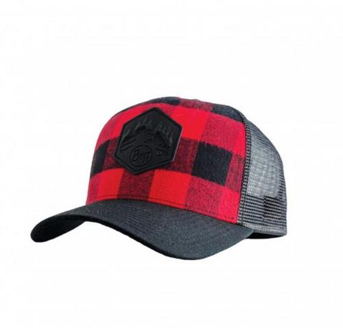 Buff Canada Red Plaid Trucker Cap