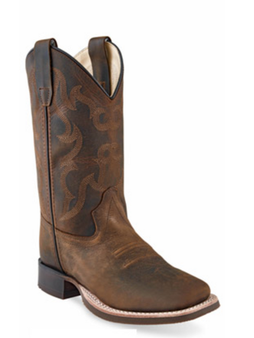 Old West Children's Wide Square Toe Distressed Brown