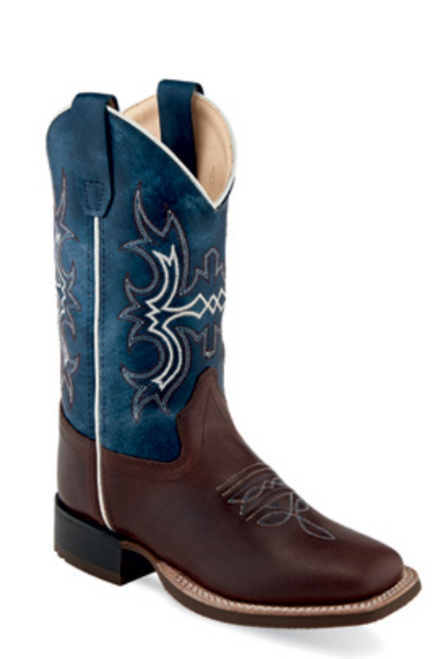 Old West Children's Wide Square Toe Brown and Blue Boot
