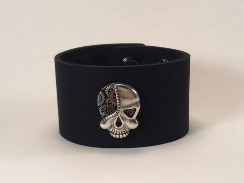 Leather Cuff with Gearhead concho