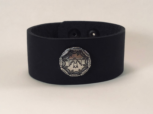 Leather cuff with Thunderbird concho