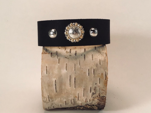 Leather cuff with western conchos