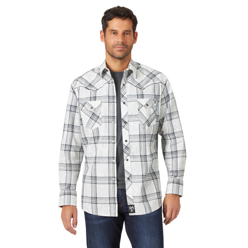 Men's Wrangler Rock 47 Grey and Black Paisley Plaid Western Shirt