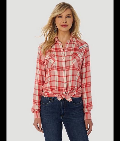 Women's Wrangler Retro Drapey Plaid Western Shirt