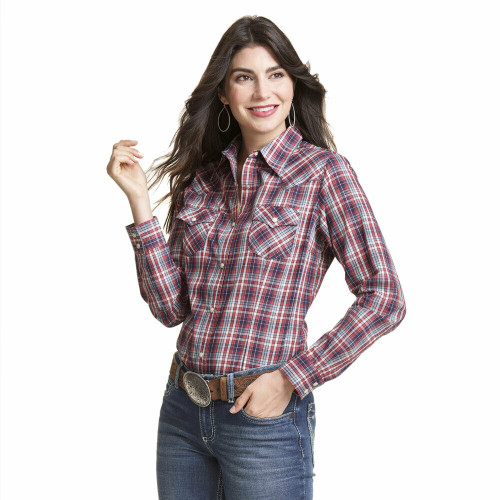 Women's Wrangler  Red/Blue Plaid Western Long Sleeve