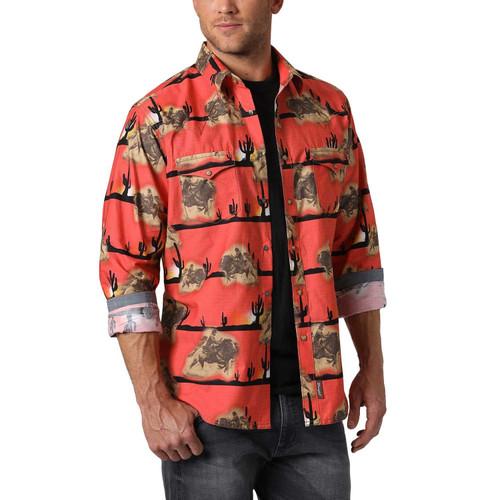 Men's Wrangler Retro Orange Scenic Long Sleeve Shirt