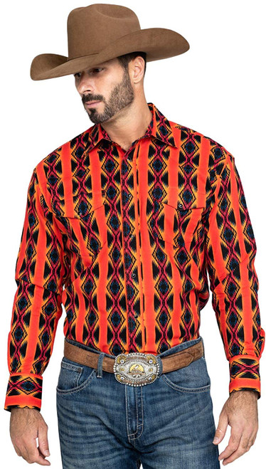 Men's Wrangler Checotah Western Snap Print Long Sleeve