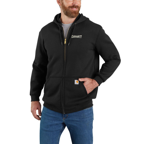 Carhartt Loose Fit Graphic Hooded Full-Zip Sweater Black