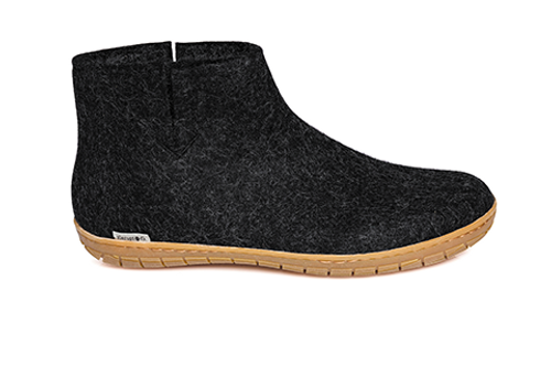 Glerups Charcoal Wool Rubber Sole Boot