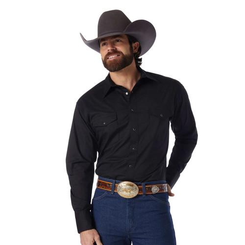 Men's Wrangler Black Sport Western Snap Shirt