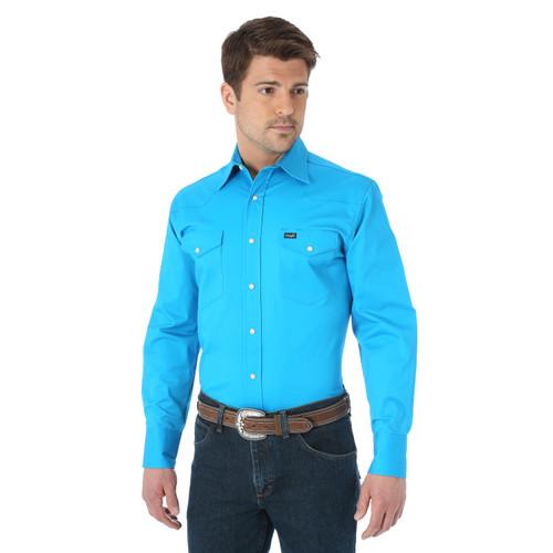 Men's Wrangler Advanced Comfort Work Shirt Blue