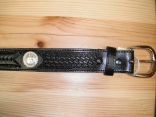Black Leather Belt with 3 Round Conchos