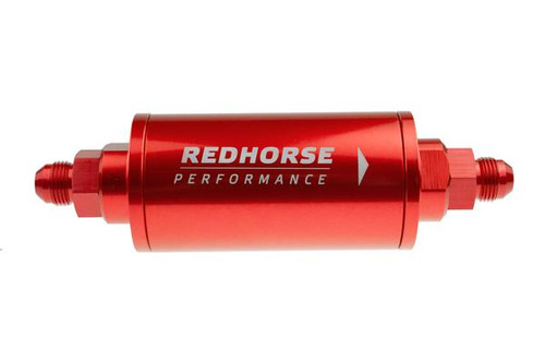"""Redhorse 6"""" Cylindrical In-Line Race Fuel Filter - 08 AN - Red"""