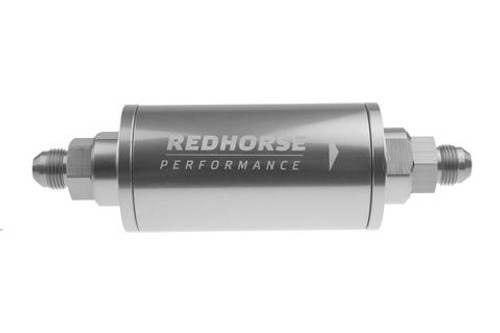 """Redhorse 6"""" Cylindrical In-Line Race Fuel Filter - 08 AN - Clear"""