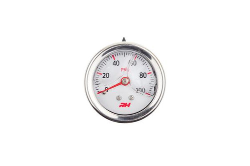 "Redhorse Liquid Filled Fuel  Pressure Gauge - 1/8"" NPT Inlet - 100psi - White w/Silver Screws"
