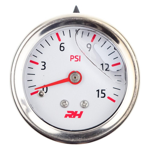 "Redhorse Liquid Filled Fuel  Pressure Gauge - 1/8"" NPT Inlet - 15psi - White w/Silver Screws"