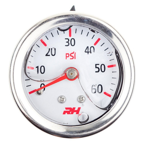 "Redhorse Liquid Filled Fuel  Pressure Gauge - 1/8"" NPT Inlet - 60psi - White w/Silver Screws"