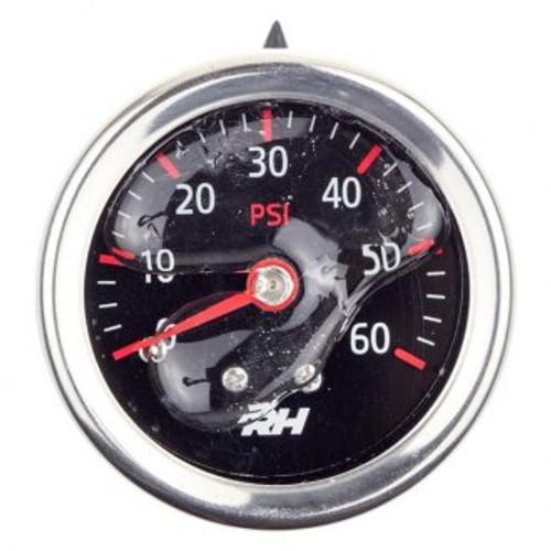 "Redhorse Liquid Filled Fuel  Pressure Gauge - 1/8"" NPT Inlet - 60psi - Plain Black"