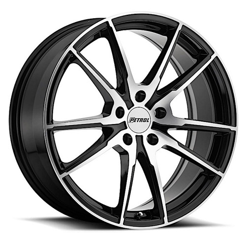 P0A  17x8.0 5/112 ET32 CB72.1 GLOSS BLACK W/ MACHINE CUT FACE