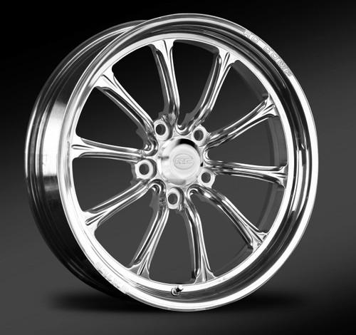 Polished front drag race wheel.