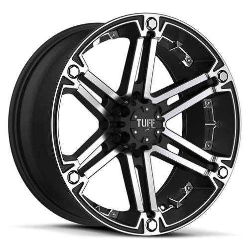 T-01  15x8.0 6/139.7 ET-13 CB108 FLAT BLACK W/MACHINED FACE AND CHROME INSERT