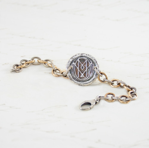Mom - Bracelet w Gold Bonded & Sterling Silver Loop Chain