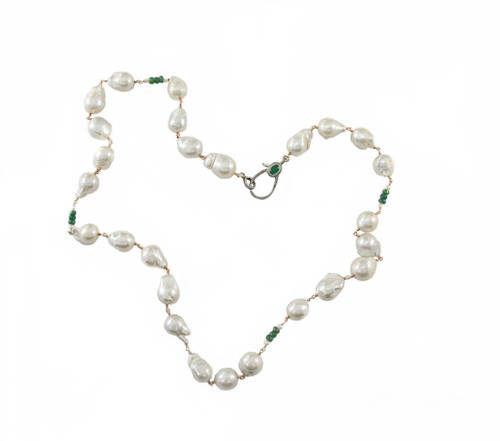Baroque Pearls with Faceted Emeralds