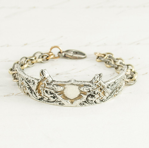 Rabbit Bracelet 17th Century Design, Attached  Gold Bonded & Sterling Silver Chain