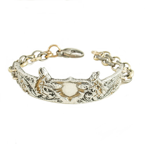 Rabbit Bracelet 16th Century Design, Attached  Gold Bonded & Sterling Silver Chain