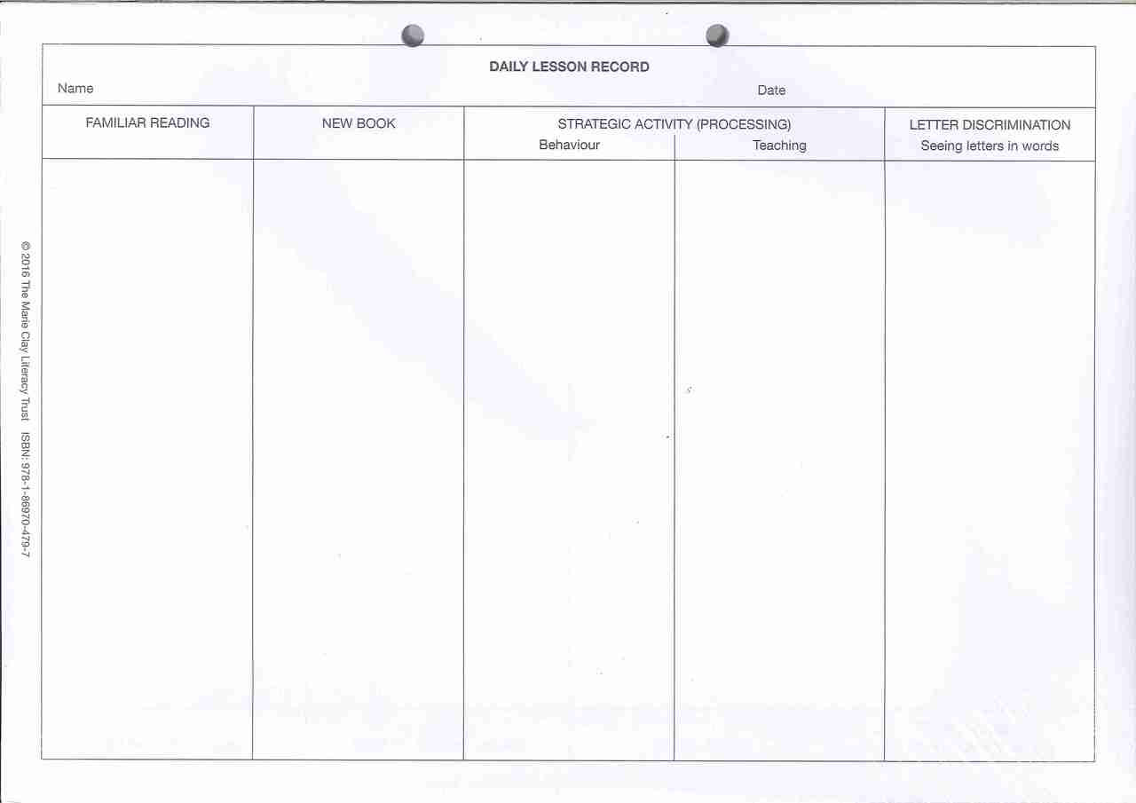 Reading Recovery Daily Lesson Record Pad
