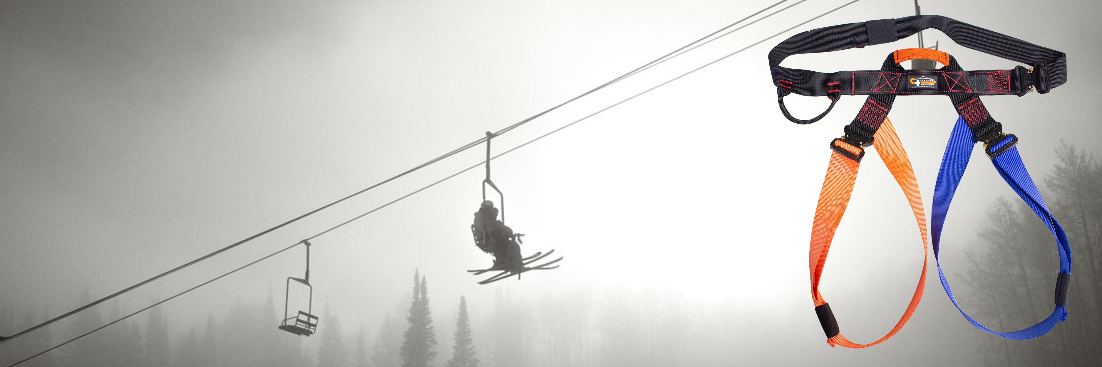 Rikki Tik rescue harness in front of  ski patrol